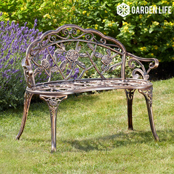 Garden Life Provence Rose Metal Bench