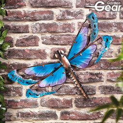 Garden Gear Metal and Glass Dragonfly Wall Art Blue