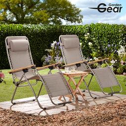 Garden Gear Ultimate Zero Gravity Chair Grey Twin Pack