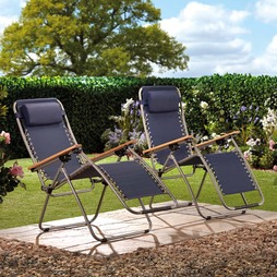 Garden Gear Ultimate Zero Gravity Chair Navy 2 Pack
