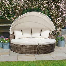 Rattan Day Beds with Covers 183cm Tonal Grey