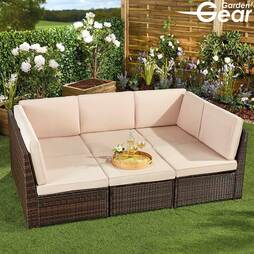 Natural with Cream Cushions + Furniture Cover