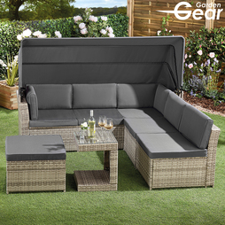 Natural with Dark Grey Cushions and Cover