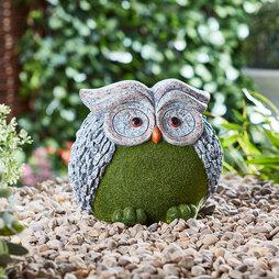 Flocked Effect Garden Ornament Owl