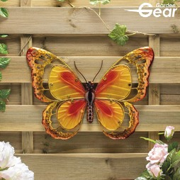 Garden Gear Metal and Glass Butterfly Wall Art Yellow