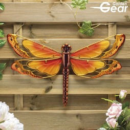 Garden Gear Metal and Glass Dragonfly Wall Art - Yellow
