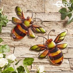 Garden Gear Metal and Glass Set of 2 Bees Wall Art