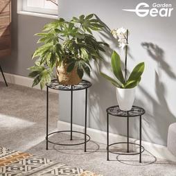 Garden Gear Flower Stand ? 2 Pack Black