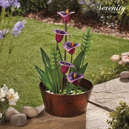 Serenity Metal Indoor and Outdoor Purple Calla Lilies Water Feature