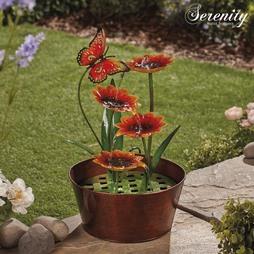 Serenity Metal Indoor and Outdoor Sunflowers Water Feature