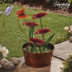 Serenity Metal Indoor and Outdoor Metal Poppy Water Feature