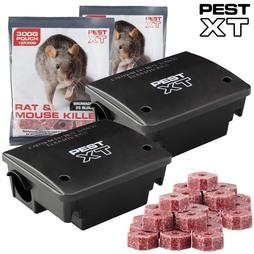 Pest XT Rat Bait Station Twin pack and 600g Block Bait