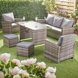 Garden Gear St Lucia 7 Seat Rattan Dining Set - Tonal Grey