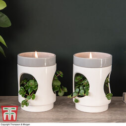 Two-Tone White Candle Planter