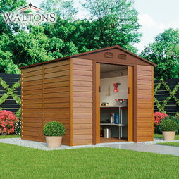Waltons Premium Woodeffect Apex 5ft x 8ft Metal Shed with Foundation Kit