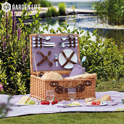 Garden Life FourPerson Picnic Hamper with Built in Cool Bag Natural