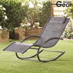 Garden Gear Premium Zero Gravity Rocking Lounger Mixed Grey