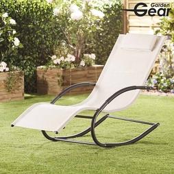Garden Gear Premium Zero Gravity Rocking Lounger Cream