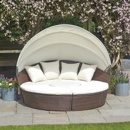 Rattan Day Beds with Covers 183cm Brown