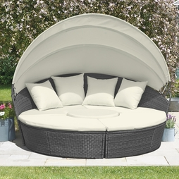 Rattan Day Beds with Covers Tonal Grey