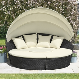 Rattan Day Beds with Covers Black