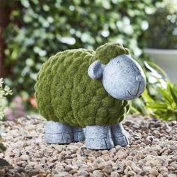 Flocked Effect Garden Ornament Sheep